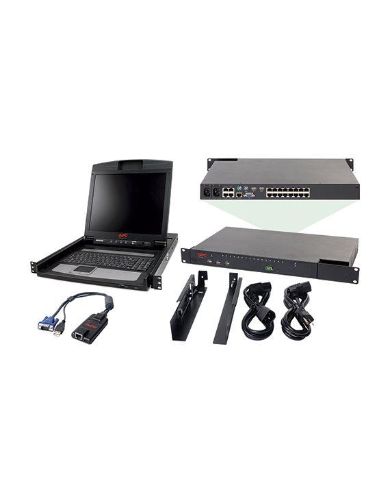 APC 2X1X16 IP KVM with APC 17″ Rack LCD and USB VM Server Module Bundle – KVM-BN001